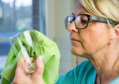 zufriedene reinigungskraft prft glaspolitur